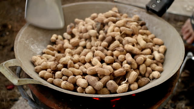 Peanuts being roasted on the stove video