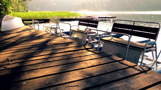 Pedalo on lake, Masuria lake district – Stock video video