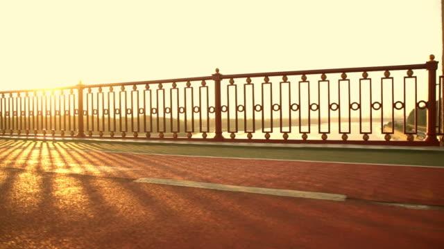 pedestrian bridge over the river - balaustrata video stock e b–roll