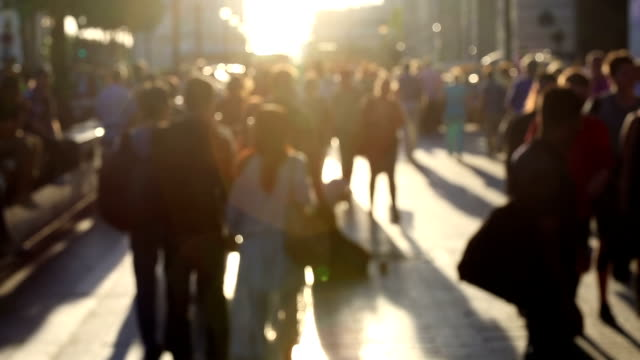 HD: Pedestrian Commuter Crowd Walking at champs elysee Paris, France video