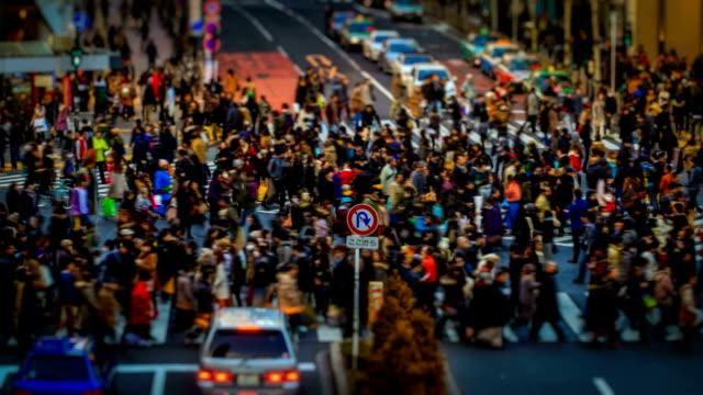 pedestrian crossing tokyo, japan miniature time lapse - 道路交叉口 個影片檔及 b 捲影像