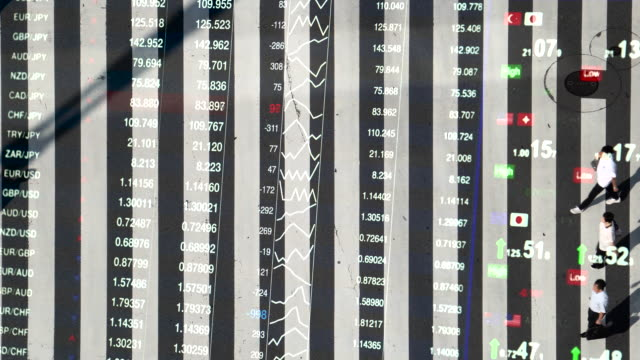 pedestrian crossing with Foreign exchange market chart