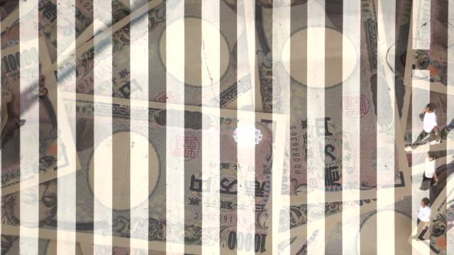 stockvideo's en b-roll-footage met voetgangers overtocht met japanse yen - yenteken