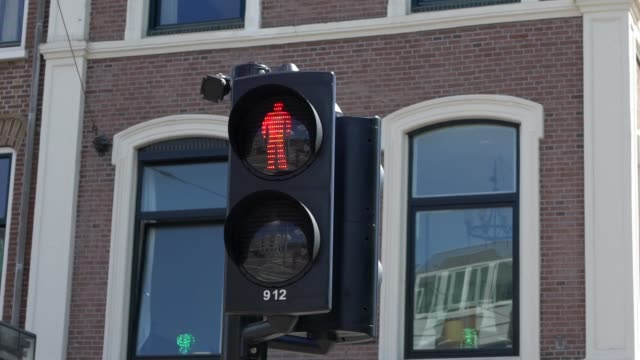 pedestrian crosswalk sign. traffic lights change from red to green color. - segnale per macchine e pedoni video stock e b–roll