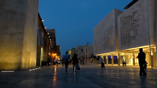Pedestrian street in Valletta,Malta at night video