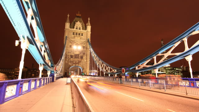 Pedestrian Tower Bridge Time Lapse at Night video