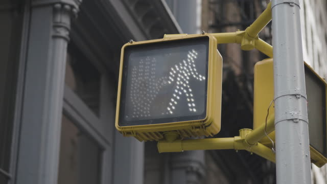 pedestrian traffic light at intersection in usa - segnale per macchine e pedoni video stock e b–roll