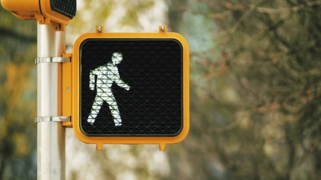 Pedestrian traffic light in an American city street