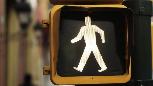 Pedestrian Traffic Signal In Buenos Aires. Close-Up.