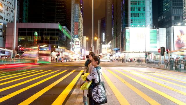 pedestrian walking through crossroad in street of hongkong,time lapse. video