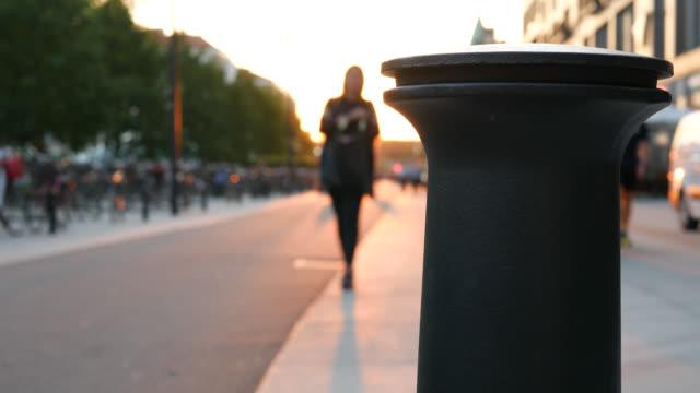 Pedestrian walkway at sunset video