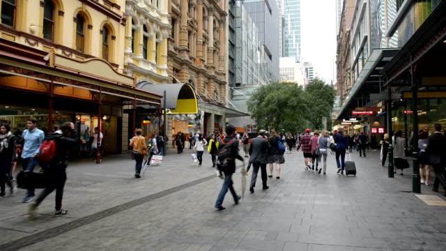 Pedestrians at Pitt Street Mall, Sydney, Australia video