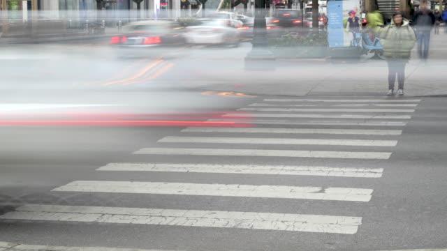 Pedestrians Cross A Busy Chicago Street video
