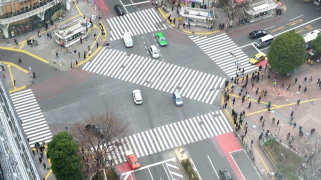 在澀谷十字路口過馬路的行人 - 澀谷交叉點 個影片檔及 b 捲影像