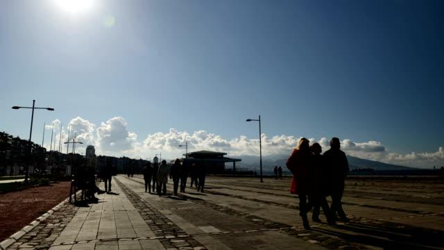 TIMELAPSE: Pedestrians in Kordon Pedestrians in Kordon, Izmir. aegean turkey stock videos & royalty-free footage