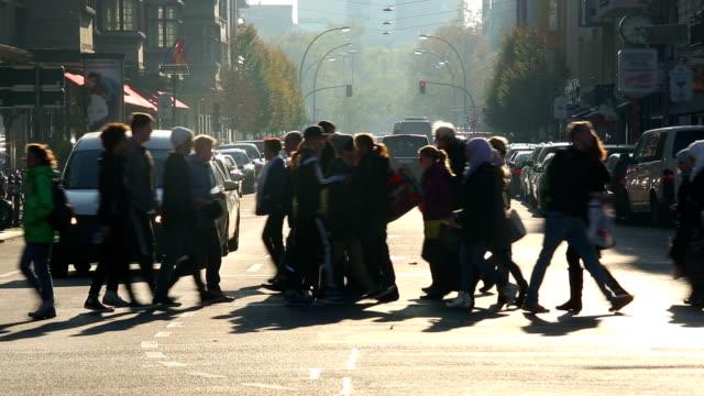 Pedestrians in shopping street video