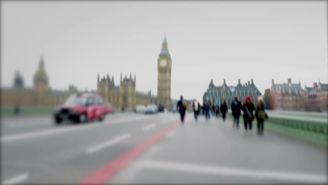 Pedestrians on Westminster Bridge, London, UK video
