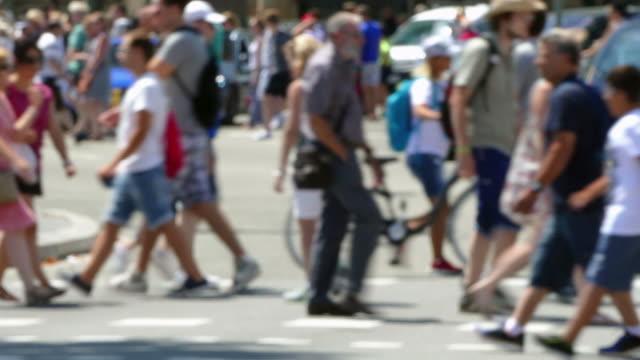 pedestrians unfocused in summer. - city walking background video stock e b–roll