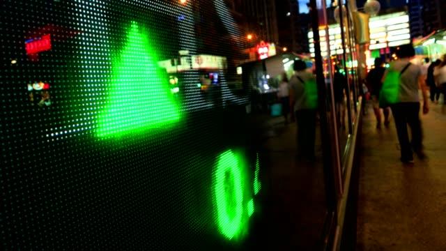 Pedestrians walk past a financial display board in Hong Kong