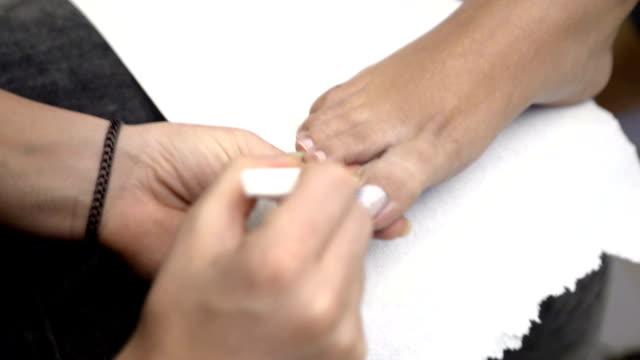 Pedicure nail care. video