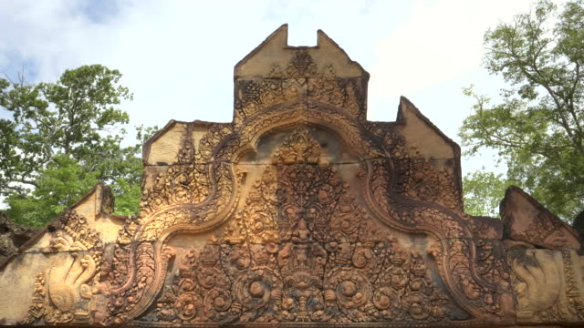 pediment with a carved elephant at banteay srei in angkor region