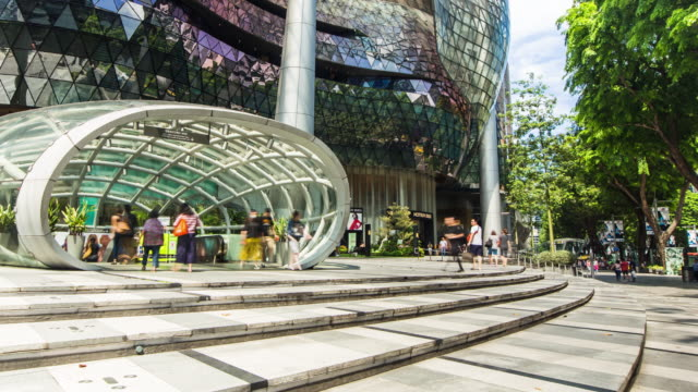 Pedrestrian Crowded Walking At Orchard Road Shopping Street Singapore Video