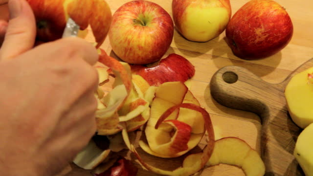 Peeling apples in the autumn video