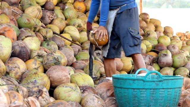 vidéos et rushes de gommage à la noix de coco - un seul homme d'âge mûr