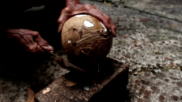 Peeling Coconut With Knife video