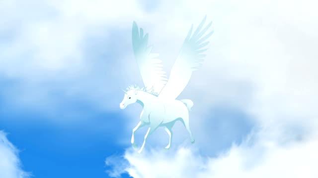 Ciclo de execução de animação Pegasus voando - vídeo