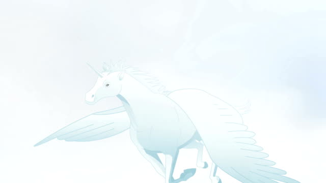 Pegasus Flying in clouds animation video