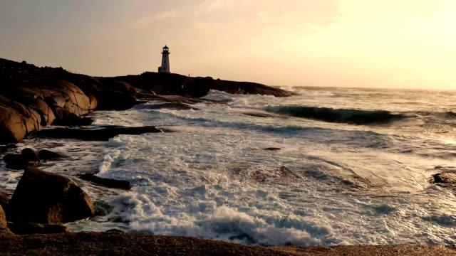 stockvideo's en b-roll-footage met peggys cove storm 3 - rocks sea