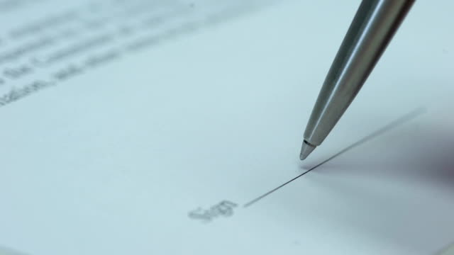 Pen signing document macro view, purchase agreement, business deal, contract Pen signing document macro view, purchase agreement, business deal, contract car rental stock videos & royalty-free footage