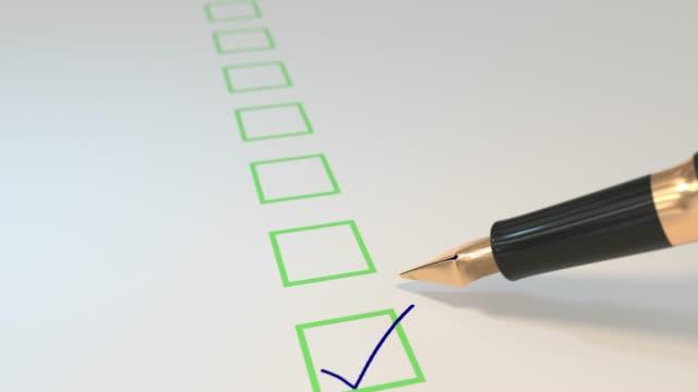 Pen ticking boxes fountain survey vote exam tick ticker loop 4K video