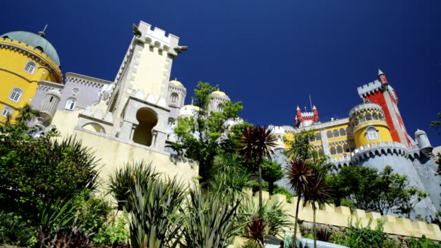 pena national palace sintra - classical architecture stock videos & royalty-free footage