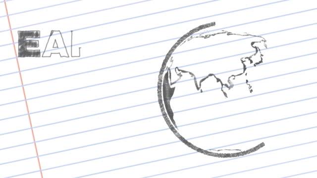 Pencil Drawn Rotating Earth video
