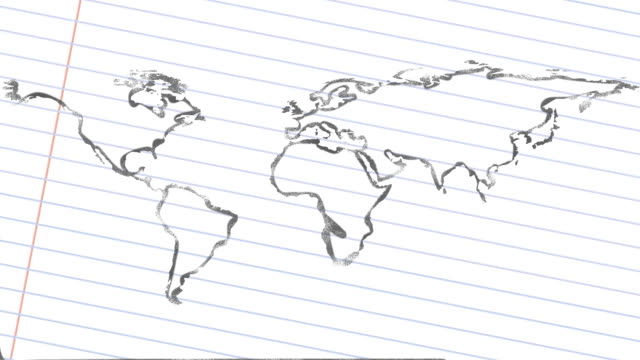 Pencil Drawn Wold Map video