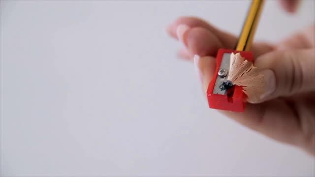 Pencil sharpener,close up video