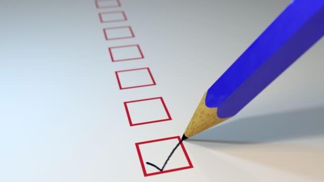 Pencil ticking boxes survey vote exam loop video