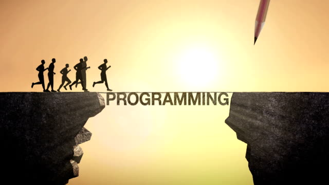 Pencil write 'Programming', connecting the cliff. Businessman crossing the cliff. video