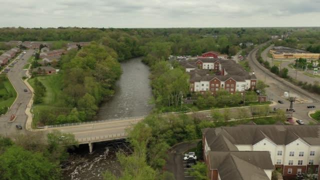 Peninsular Paper Dam in Ypsilanti, Michigan Aerial Video