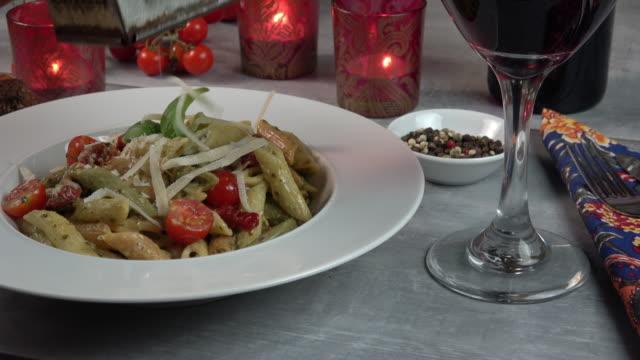penne pasta plate - three footage compilation - cucina italiana video stock e b–roll