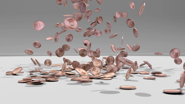 Pennies fall on the floor and pile up video