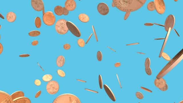 деньги падающие - монета стоковые видео и кадры b-roll