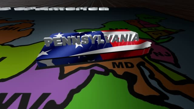 Pennsylvania pull out from USA states abbreviations map video
