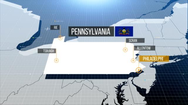 pennsylvania state karte mit etikett dann mit etikett - pennsylvania stock-videos und b-roll-filmmaterial