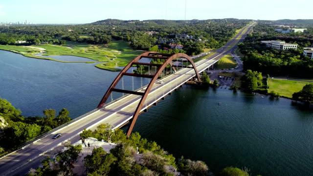 pennybacker bridge aerial drone view above Texas Hill Country Landscape of Colorado River