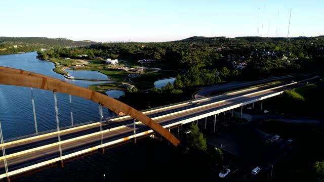 Pennybacker Bridge Austin , Texas high above suspension bridge