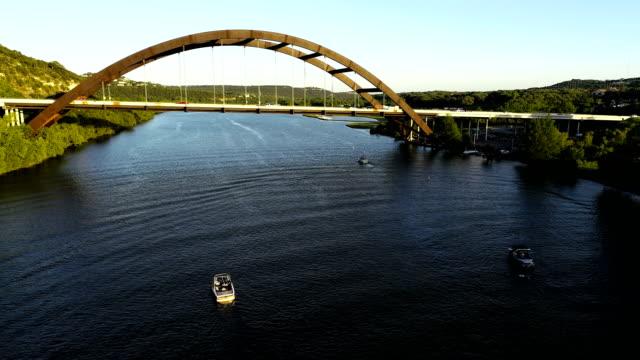 Pennybacker Bridge low view by boats