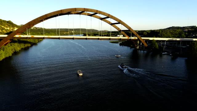Pennybacker Bridge moving forward under bridge
